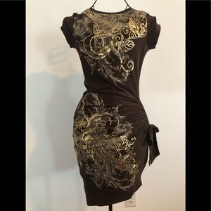 Cache brown fitted cinched dress with gold foil